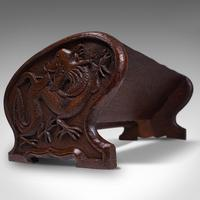 Antique Carved Book Stand, Oriental, Mahogany, Rack, Dragon Motif, 19th Century (9 of 12)