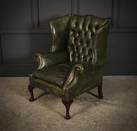 Vintage Green Leather Wing Chair (10 of 25)