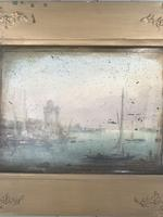 Antique Georgian or Early Victorian Landscape Oil Painting of Boats in Harbour by John Wilson Ewbank 2 of 2 (4 of 10)