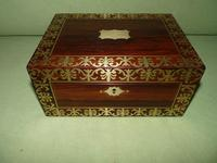 QUALITY Inlaid Regency Rosewood Jewellery Box + Tray. c1830 (15 of 15)