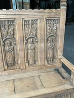 French Gothic Oak Hall Bench (6 of 8)