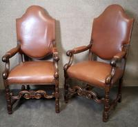 Large Pair of Oak & Leather Armchairs (11 of 11)