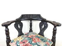 Victorian Carved Oak Corner Chair with Floral Upholstery (2 of 9)