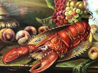 German 20th Century Oil Painting Banquet Red Lobster Serving Tray Peaches Grapes (9 of 23)