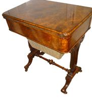 Fine 19th Century Burr Walnut Games / Work Table 1870 (3 of 5)