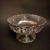 Silver Mappin & Webb Fretwork Pedestal Bowl
