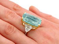 25.23ct Aquamarine & 3.40ct Diamond, Platinum Dress Ring - Vintage c.1950 (8 of 9)