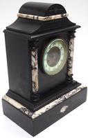 Very Fine French Slate & Marble Mantel Clock 8 Day Striking Mantle Clock (5 of 10)