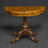 Victorian Burr Walnut Card Table with Green Baize (2 of 12)