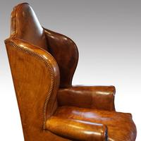 Antique Carved Walnut Leather Wing-back Chair (8 of 12)