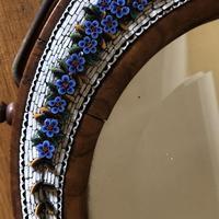 19th Century Italian Olive Wood Easel Mirror - Millefiori Micro Inlaid Detail (8 of 10)