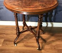 Victorian Burr Walnut & Marquetry Occasional Table (4 of 10)