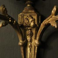 French Pair of Bronze Gilded Antique Wall Sconces (7 of 10)