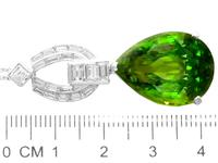 23.20ct Peridot & 1.38ct Diamond, Platinum Pendant - Vintage c.1945 (6 of 9)