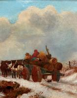 'The Loggers Return Home' Superb Antique Winter Landscape Oil on Canvas Painting (9 of 12)