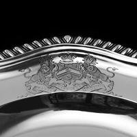 Antique Solid Silver Dish with Coat of Arms for Michael Bass, 1st Baron Burton - Garrard 1888 (18 of 21)