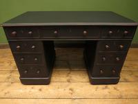 Antique Black Painted Pedestal Desk, 3 Parts, Gothic Shabby Chic (2 of 17)