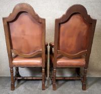 Large Pair of Oak & Leather Armchairs (6 of 11)
