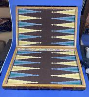 Edwardian French Leather Double book box with Backgammon set to the inside (2 of 14)