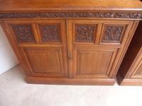 Amazing Matching Pair of Carved Victorian Golden Oak Adjustable Bookshelves (7 of 9)
