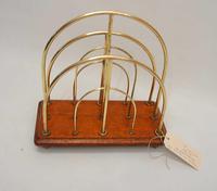 Victorian William Tonks Brass & Oak Desk Top Magazine or Letter Rack (2 of 11)