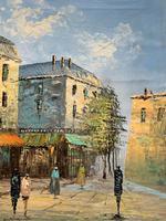 Fine Large Original Vintage Parisian Street Cityscape Impressionist Oil Painting (5 of 11)