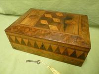 Large Tunbridge Ware Style Jewellery Box - Original Tray c.1870 (4 of 16)