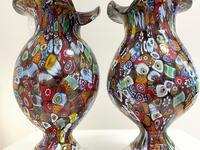 2 Beautiful Italian Murano Fratelli & Torso Millefiori Glass Vases (15 of 34)
