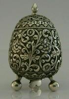 Stunning Indian Eastern Solid Silver Pepper Spice Pot Egg Shaped c.1880 (4 of 9)