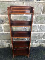 Edwardian Inlaid Mahogany Slim Open Bookcase
