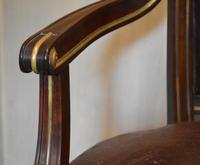 French Mahogany, Brass & Leather, Low Back Armchair (5 of 9)