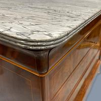 Exceptional French Marble Top Mahogany Inlaid Commode (10 of 12)
