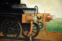 Antique Victorian Oil Painting Steam Locomotive Train (11 of 11)