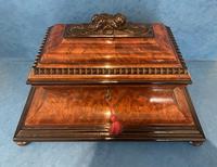 Victorian Burr Cedar & Ebony Shaped Tea Caddy (20 of 20)