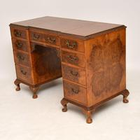 Antique Queen Anne Style Burr Walnut Leather Top Desk (4 of 11)