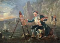 Late 18th Century 'British School' Original Oil Portrait Painting of a Shoreline Artist (2 of 12)