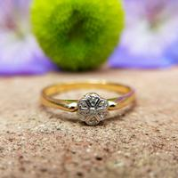 Dainty Vintage 18ct Gold Diamond Flower Ring (7 of 7)
