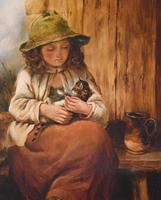 Victorian Oil Painting of a Girl with Kitten (4 of 6)
