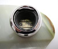 Elegant Art Deco 1927 Solid Sterling Silver & Green Marble Double Inkwell Desk Pen Ink Stand Pots (4 of 9)