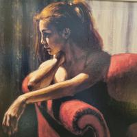"""Fabian Perez Hand Embellished Limited Edition Artists Proof Print """"rojo Sillon III"""" with Certificate of Authenticity (2 of 10)"""
