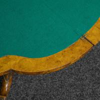 Victorian Burr Walnut Card Table with Green Baize (10 of 12)