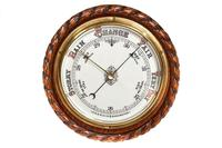 Oak  Circular Aneroid Wall Barometer with Carved Rope Decoration (3 of 3)