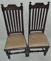 Pair of Jacobean High Back Oak Chairs (2 of 8)