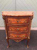 Antique Inlaid Mahogany Marble Top Commode Chest