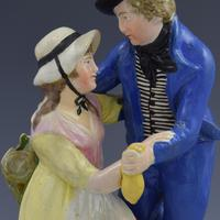 Early 19th Century Pearlware Marine Figure Group Sailor's Return (8 of 12)