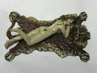 Austrian Franz Bergman Cold Painted Bronze Erotic Nude Lady Reclining Tiger Rug (2 of 13)