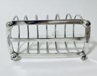 Large Antique Six Division Solid Silver Toast Rack (8 of 10)