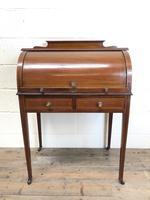 Antique Edwardian Mahogany Inlaid Cylinder Top Desk (5 of 14)