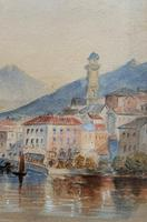 Large Lake in Italy - Beautiful 1930s Watercolour Landscape Painting (7 of 9)