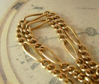 Antique Pocket Watch Chain 1890s Victorian Brass Figaro Link Albert With T Bar (5 of 11)